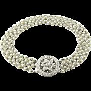 Antique Pearl and Platinum Bracelet with Diamond Clasp