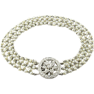 Antique Pearl and Platinum Bracelet with Diamond Clasp