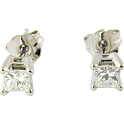 Vintage 14K White Gold Princess Cut Diamond Stud Earrings .33 carats