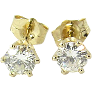 Vintage 14K Yellow Gold Round Brilliant Diamond Stud Earrings .60 ct