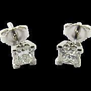 Vintage 14K White Gold Princess Cut Diamond Stud Earrings .80 ct