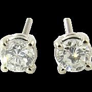 Vintage 14K White Gold Round Brilliant Diamond Stud Earrings .70 ct