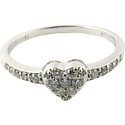 Vintage 14K White Gold and Diamond Heart Ring Size 7