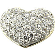 Vintage 18K White and Yellow Gold and Pave Diamond Heart Pendant Slider