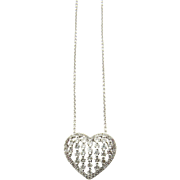 Vintage 18K White Gold and Diamond Heart Pendant Necklace