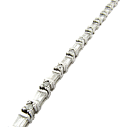 Vintage 14K White Gold Round Brilliant and Baguette Diamond Tennis Bracelet
