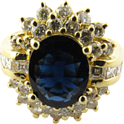 Vintage 14K Yellow Gold Oval Sapphire and Diamond Ring Size 6