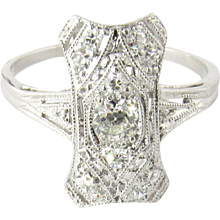 Vintage Platinum Diamond Filigree Ring Size 4