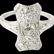 Vintage Platinum Diamond Filigree Ring Size 4