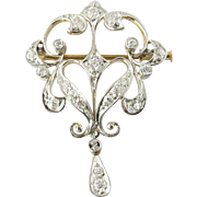 Antique 14K Yellow and White Gold Diamond Pendant Brooch