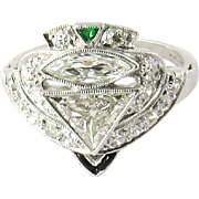 Antique Platinum Diamond, Emerald and Onyx Ring Size 4.25