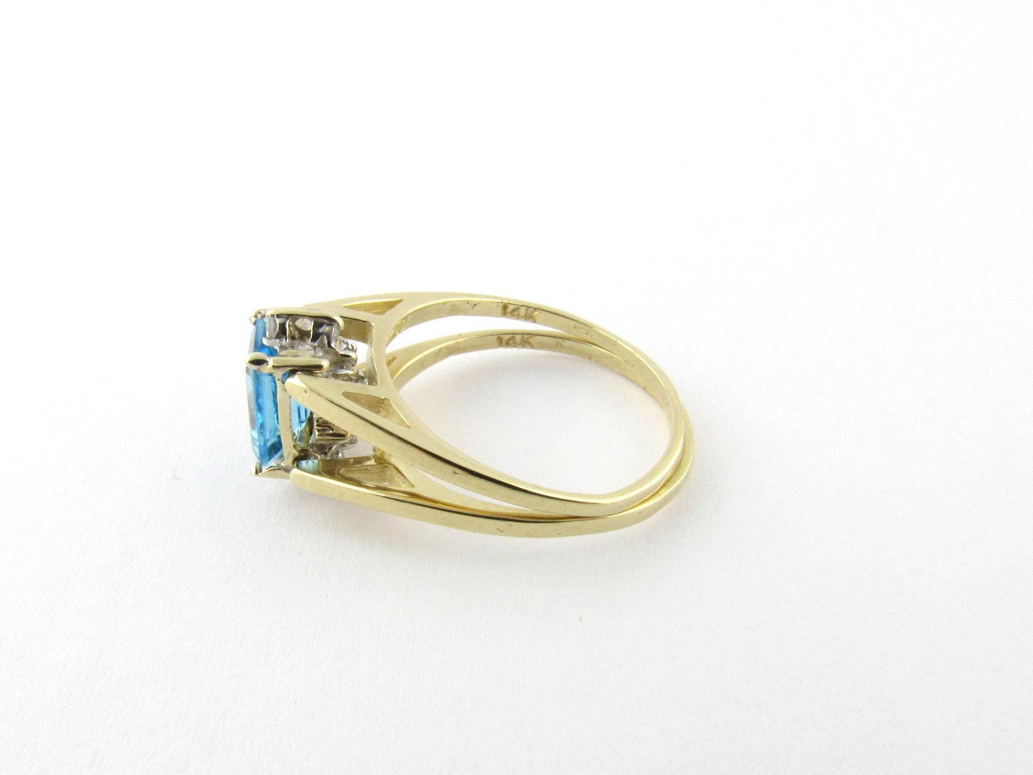 Vintage 14K Yellow Gold Diamond and Blue Topaz Flip Ring Size 6