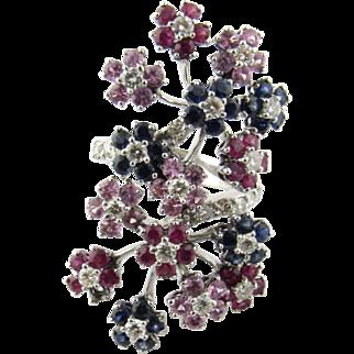 Vintage 14K White Gold Diamond Sapphire, Ruby, Floral Ring, Size 6