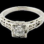 Vintage 18K White Gold Diamond Engagement Band, Size 6.5
