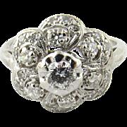 Vintage 14K White Gold Floral Diamond Ring, Size 6