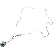 Vintage 14K White Gold Black Pearl and Diamond Drop Necklace