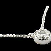 Vintage 14K White Gold Bezel Set Diamond Necklace