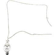 Vintage 14K White Gold Diamond and Black Pearl Necklace