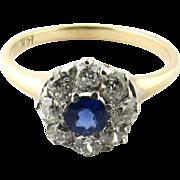 Vintage 14 Karat White Gold Sapphire and Diamond Ring Size 5