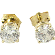 Vintage 14K Yellow Gold Round Diamond Stud Earrings