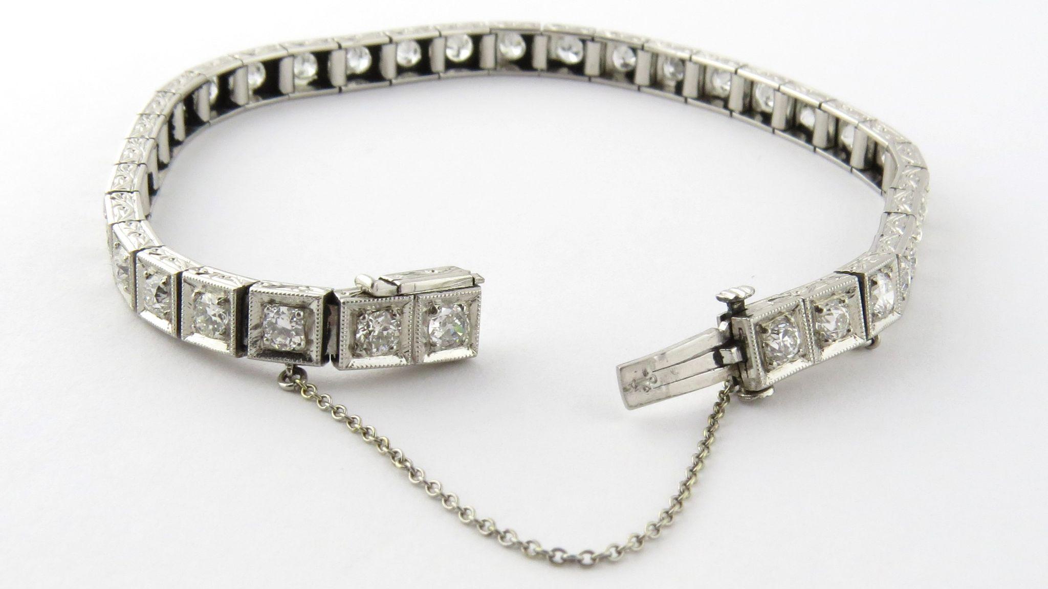 Antique Platinum And Diamond Tennis Bracelet Old Miner 4 2