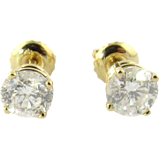 Vintage 14K Yellow Gold 1.20ct Diamond Stud Screw Back Earrings