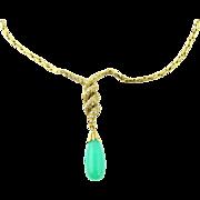 Vintage 18 Karat Yellow Gold Diamond and Australian Jade/ Chrysoprase Necklace