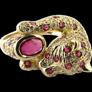 Vintage 18 Karat Yellow Gold Diamond and Ruby Panther Ring Size 6.5