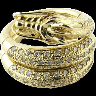 Vintage 14 Karat Yellow Gold Ruby and Crystal Dragon Ring Size 7