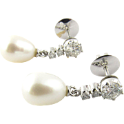 Vintage 14 Karat White Gold Diamond and Pearl Earrings