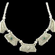 Vintage 14 Karat White Gold Emerald and Diamond Necklace