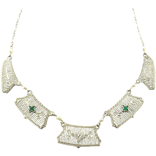 Vintage 14 Karat White Gold Emerald and Diamond Necklace