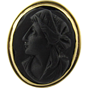 Antique 18 Karat Yellow Gold Black Matte Cameo Ring Size 6