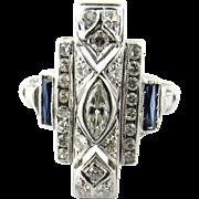 Vintage 14 Karat White Gold Sapphire and Diamond Ring
