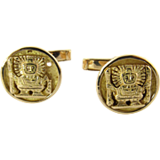Vintage 18 Karat Yellow Gold Peruvian Inca Warrior Cufflinks