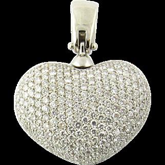 Vintage 14K White Gold 8ct Diamond Puffy Heart Pendant