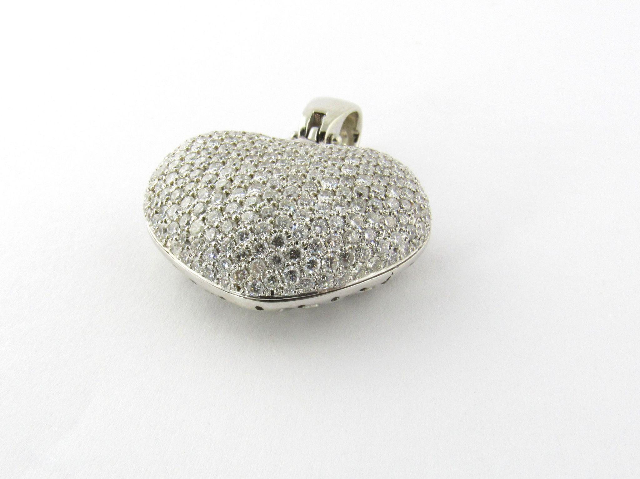 Vintage 14K White Gold 8ct Diamond Puffy Heart Pendant from