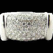 Vintage 14K White Gold Rectangle Dome Diamond Ring, 7 3/4