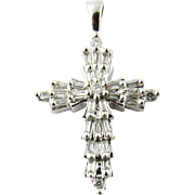 Vintage 14K White Gold Round Brilliant and Baguette Diamond Cross