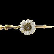 Vintage 14K Yellow Gold Diamond Daisy Brooch/Pin
