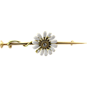 Vintage 14K Yellow Gold Diamond Daisy Brooch/Pin