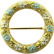 Vintage 14K Yellow Gold Floral Wreath Brooch