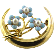 Vintage 14K Yellow Gold and Seed Pearl Floral Brooch