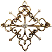 Antique Georgian 10K Yellow Gold Diamond Brooch/Pendant - Red Tag Sale Item
