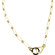Vintage 18K Yellow Gold Handcuff Chain Link Necklace