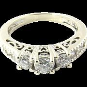 Vintage 14K White Gold Diamond Ring, Size 4.5