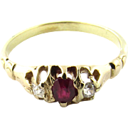 Antique Victorian Diamond Ruby Ring 14K Yellow Gold, Size 5