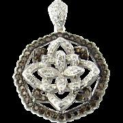 Vintage 18K White Gold Layered Diamond Flower Pendant