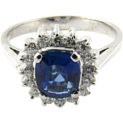 Vintage 18K White Gold Diamond and Sapphire Halo Ring