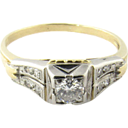 Vintage 14K Yellow and White Gold Diamond Ring.